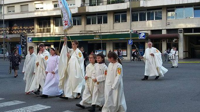 Cofradía mercedaria en el Domingo de Ramos.